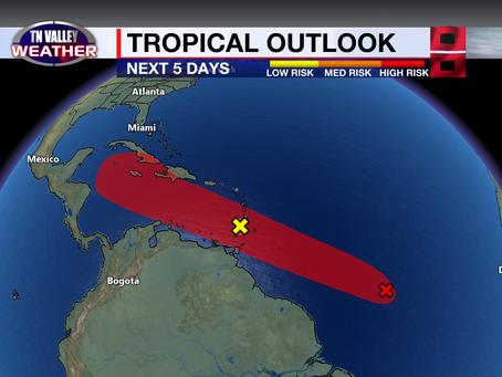 Atlantic disturbance may become Tropical Depression 5 or Tropical Storm Elsa soon.