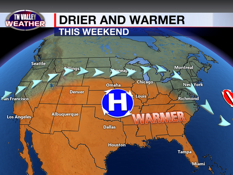 One more day of widespread storms, then drier and warmer for the weekend.