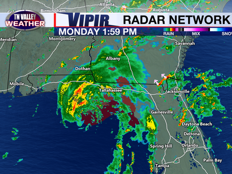 Tropical Storm Fred in the Gulf.  Grace and TD 8 also on the board.  Local rain chances.