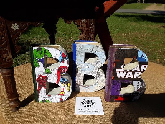 Marvel, Map, or Starwars patterned book letter B