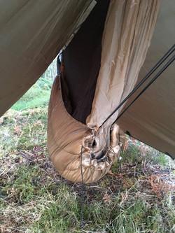 Hammock under sling duvet was toasty