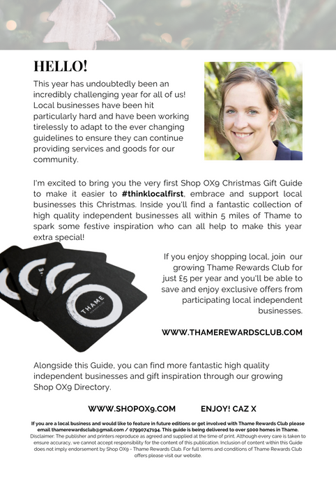 SHOP OX9 CHRISTMAS GIFT & PRODUCT GUIDE 2020 ; THAME REWARDS CLUB ; CHRISTMAS IN THAME ; SHOPPING IN THAME CHRISTMAS ; INDEPENDENT CHRISTMAS SHOPPING