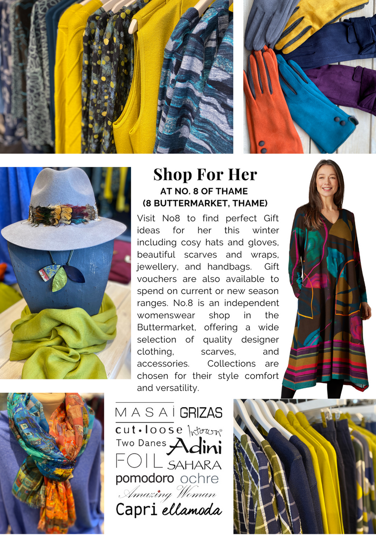 SHOP OX9 CHRISTMAS GIFT & PRODUCT GUIDE 2020 ; THAME REWARDS CLUB ; CHRISTMAS IN THAME ; SHOPPING IN THAME CHRISTMAS ; INDEPENDENT CHRISTMAS SHOPPING ; WOMENS CLOTHES SHOPS THAME ; NO8 OF THAME