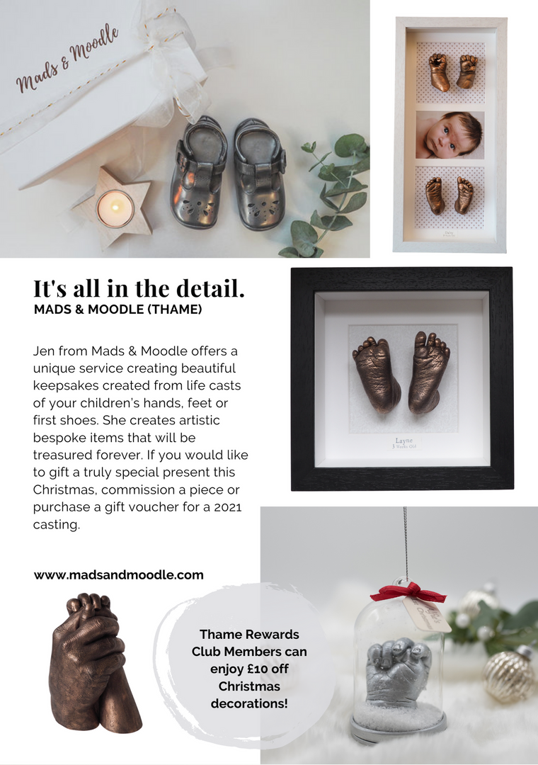 SHOP OX9 CHRISTMAS GIFT & PRODUCT GUIDE 2020 ; THAME REWARDS CLUB ; CHRISTMAS IN THAME ; SHOPPING IN THAME CHRISTMAS ; INDEPENDENT CHRISTMAS SHOPPING ; MADS AND MOODLE BABY HAND AND FEET CASTING THAME ; BABY HAND AND FEET CASTING OXFORDSHIRE