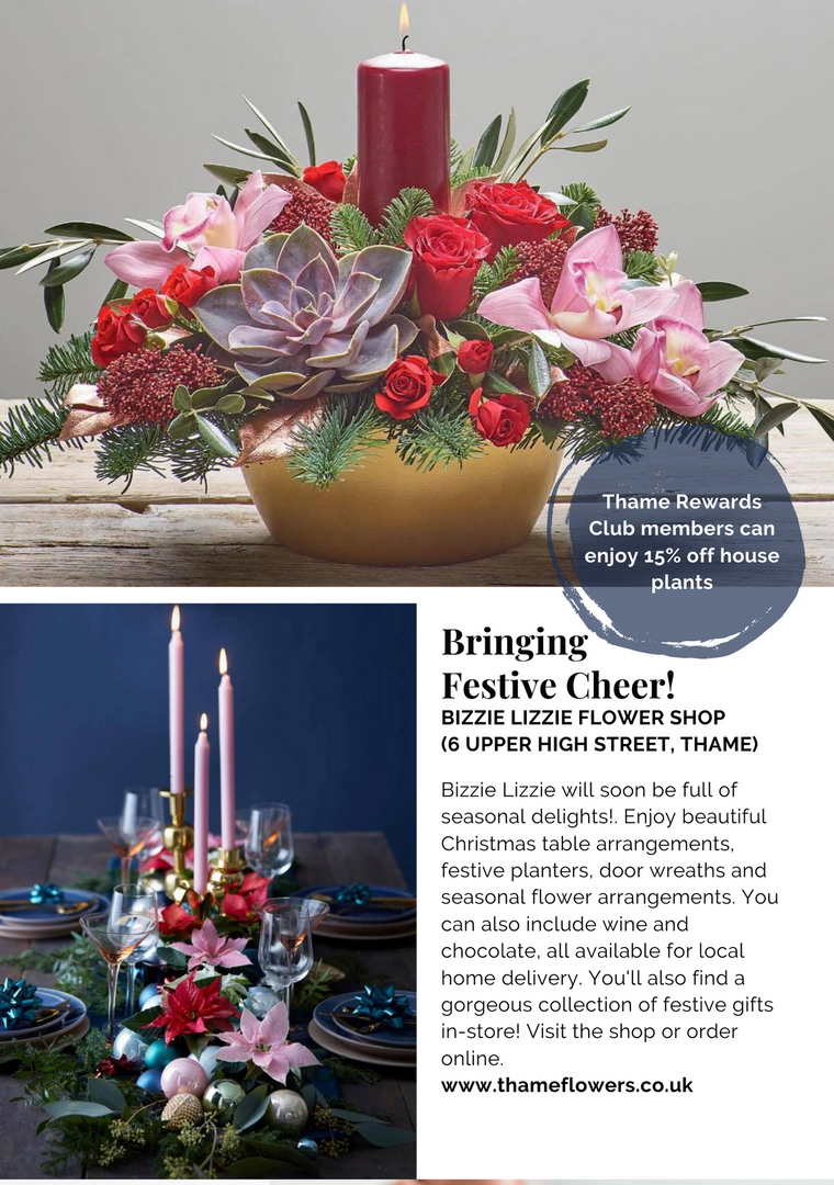 SHOP OX9 CHRISTMAS GIFT & PRODUCT GUIDE 2020 ; THAME REWARDS CLUB ; CHRISTMAS IN THAME ; SHOPPING IN THAME CHRISTMAS ; INDEPENDENT CHRISTMAS SHOPPING ; BIZZIE LIZZIE FLOWER SHOP ; FLORISTS IN THAME ; CHRISTMAS FLOWERS ; CHRISTMAS BOUQUETS THAME