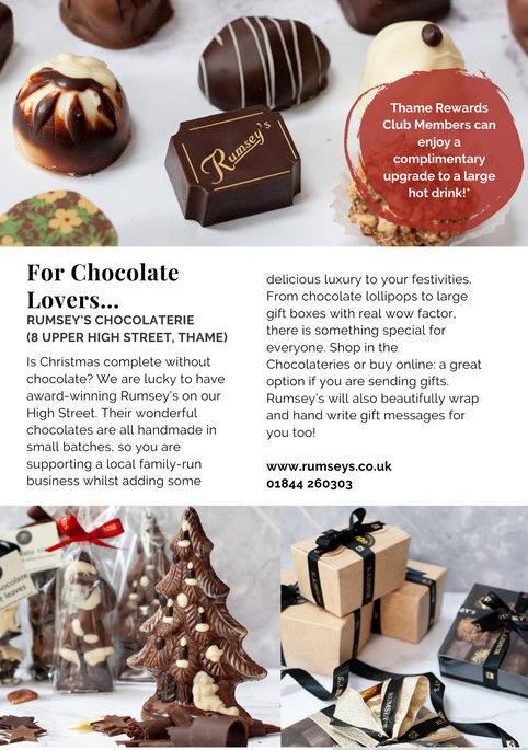 SHOP OX9 CHRISTMAS GIFT & PRODUCT GUIDE 2020 ; THAME REWARDS CLUB ; CHRISTMAS IN THAME ; SHOPPING IN THAME CHRISTMAS ; INDEPENDENT CHRISTMAS SHOPPING ; RUMSEYS CHOCOLATERIE THAME ;