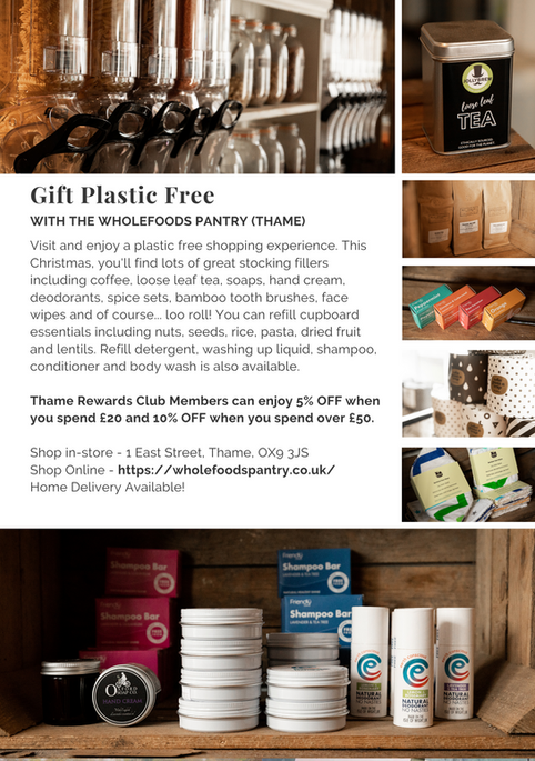 SHOP OX9 CHRISTMAS GIFT & PRODUCT GUIDE 2020 ; THAME REWARDS CLUB ; CHRISTMAS IN THAME ; SHOPPING IN THAME CHRISTMAS ; INDEPENDENT CHRISTMAS SHOPPING ; WHOLEFOODS PANTRY THAME