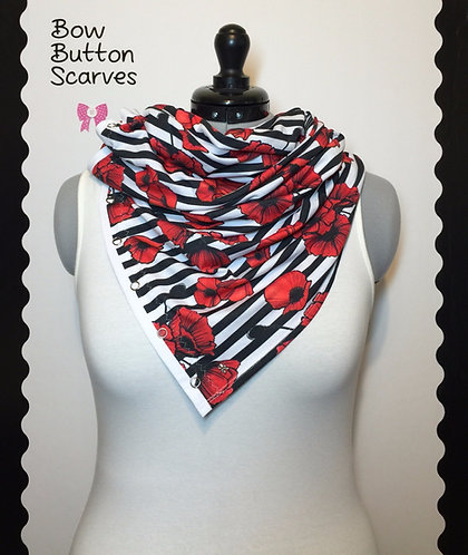 Poppies Bow Button Scarf