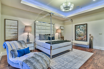 Modern Home Builder master bedroom by Boyd Custom Homes