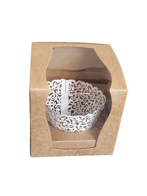 10 Stück Geschenkverpackung mit Sichtfenster, Einleger und Muffinschleife