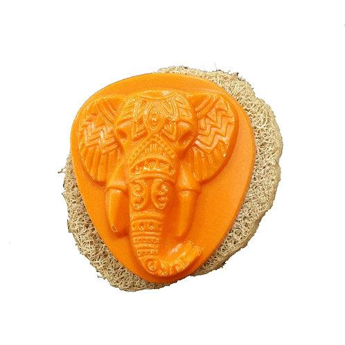 Dusch-Teil Orange mit Luffa-Scheibe, Set Duschgel und Luffa Scheibe
