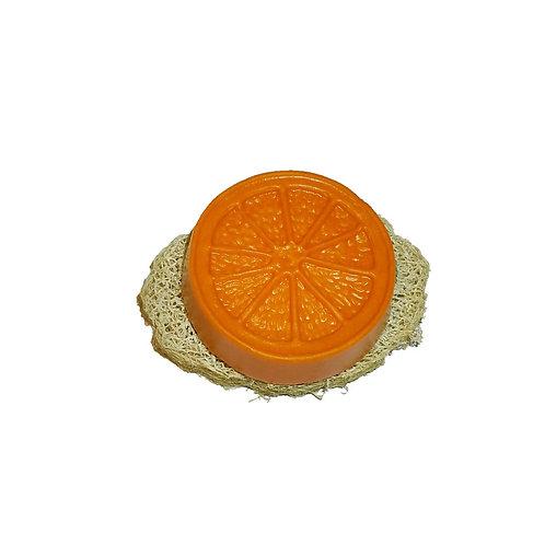 Shampoo-Teil Orange, Set: Shampoo + Luffa-Scheibe