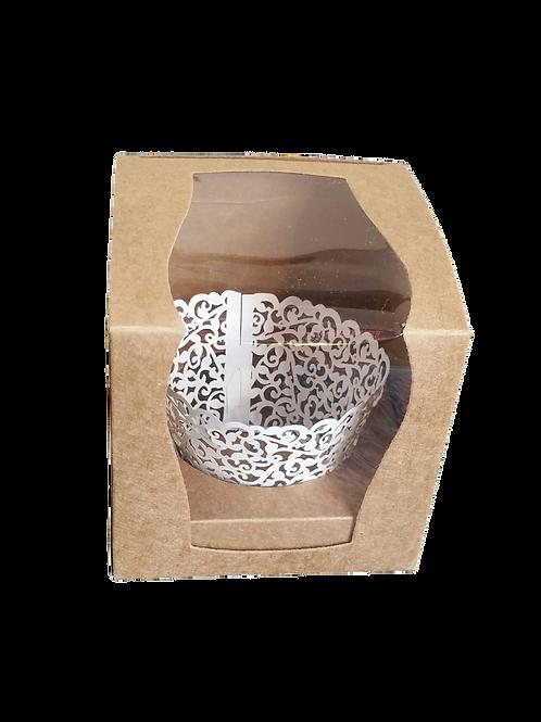 Geschenkverpackung mit Sichtfenster, Einleger und Muffinschleife