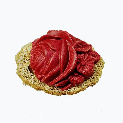 Shampoo-Teil Rose Hibiskus mit Luffa Scheibe
