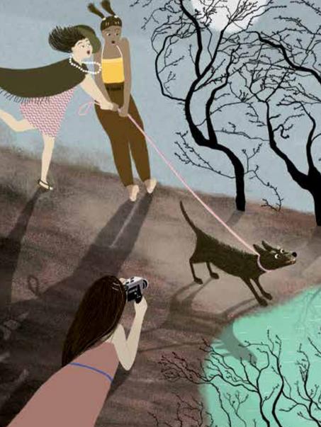 Ilustración de Carolina Romano para el libro Las Súper 8: Un verano de película