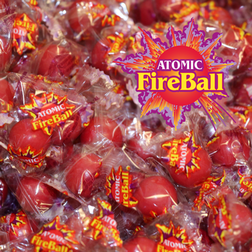 "Atomic Fireballs 7/8"" Wrapped Jawbreakers Hard Bulk Candy centers   4 - 30 LBs"
