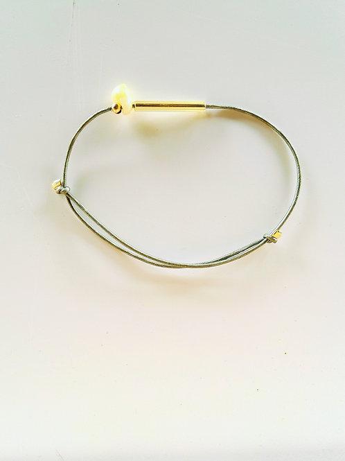 Bracelet DUNE cuir Gris-vert