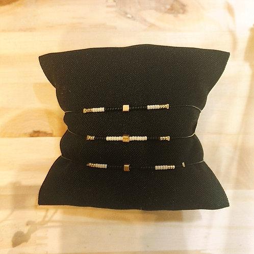 Bracelet CRISTAL Noir et Crème