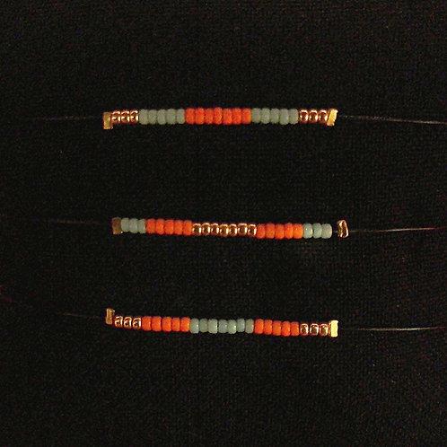Bracelet 3 COULEURS Black Mamba Orange Turquoise foncé