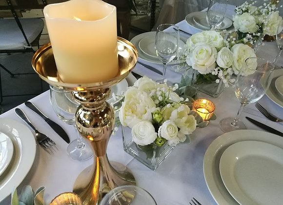 CANDELABRA SINGLE STEM - GOLD 35CM
