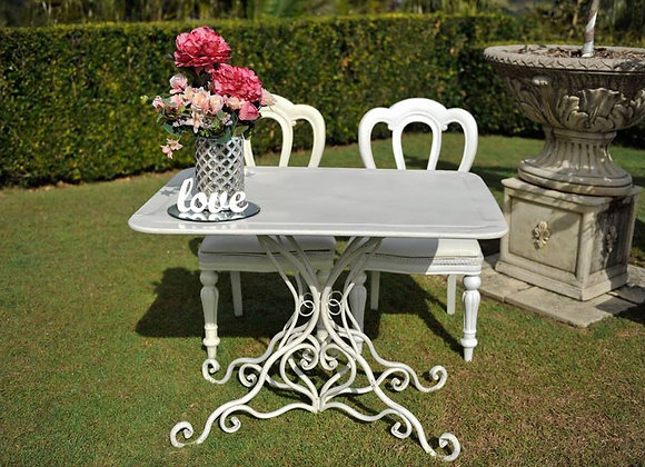 WROUGHT IRON SCROLL RECTANGLE TABLE