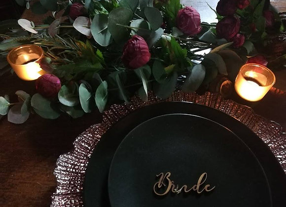 CHARGER PLATE GLASS ROSE GOLD FLORA W33CM