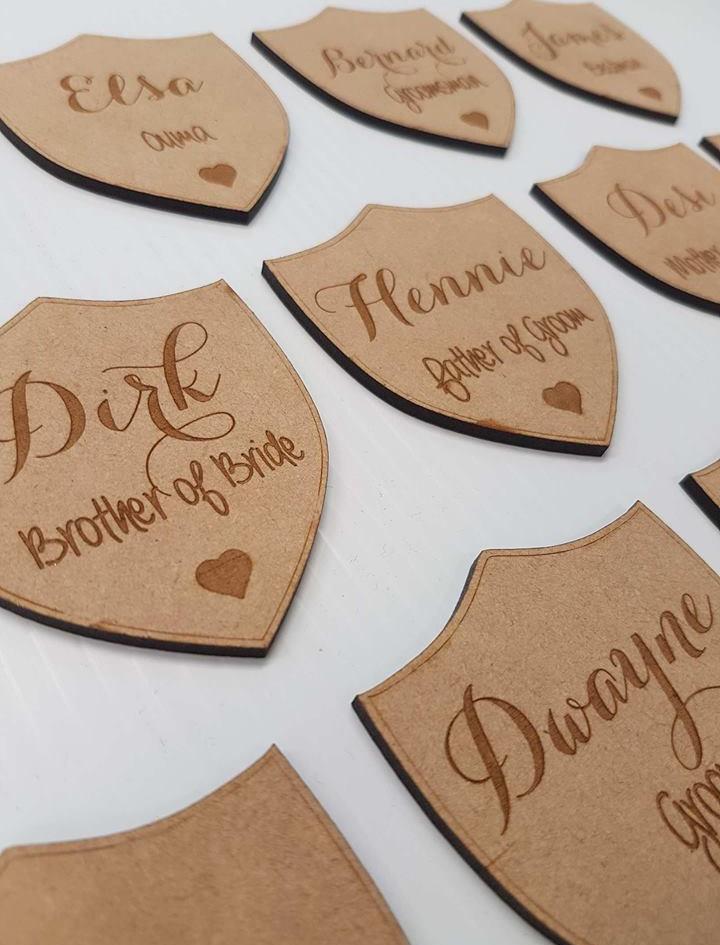 Lasercut Wedding Party MDF Name Badges