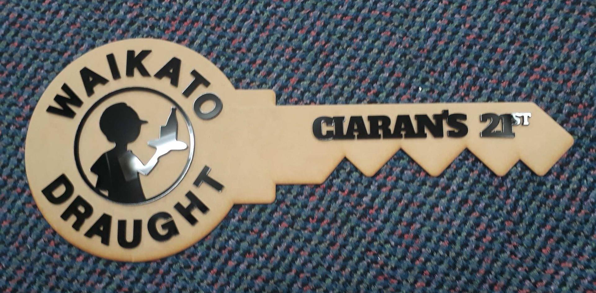 Lasercut MDF and Acrylic Custom 21st Key
