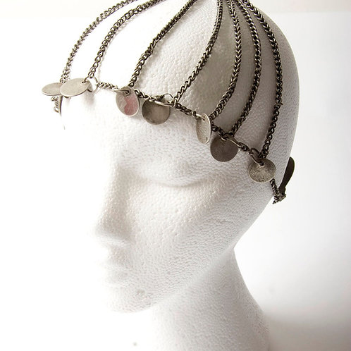 Silver Berber headpiece with coins