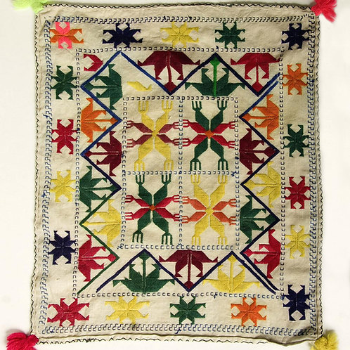 Vintage handwoven cotton &  silk embroidered Hazara prayer cloth, circa 1950