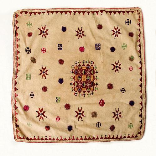 Handwoven cotton & silk embroidered Hazara prayer cloth, circa 1920