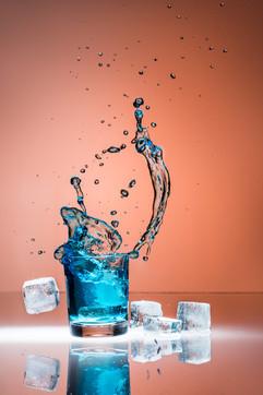 Glas spritzt
