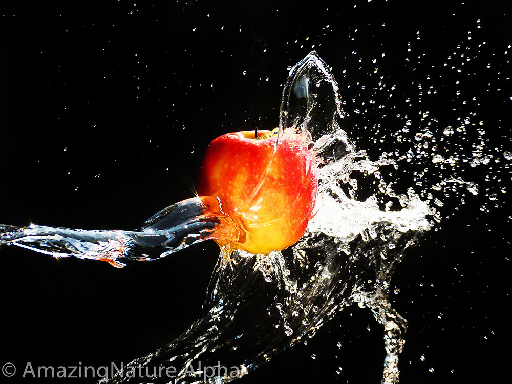 Wassertropfen, Apfel, schwarzer Hintergrund