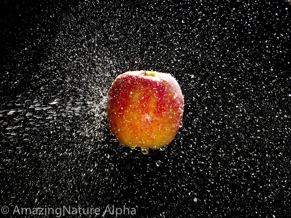 Apfel, spritzt, Wasser, Wassertropfen
