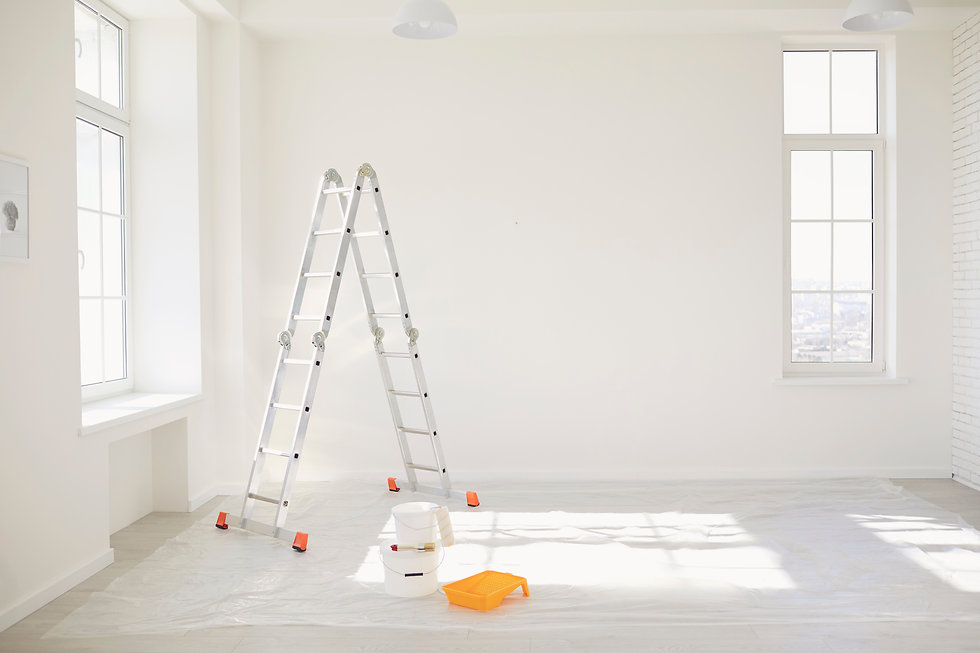 Painting in a white room with windows wi