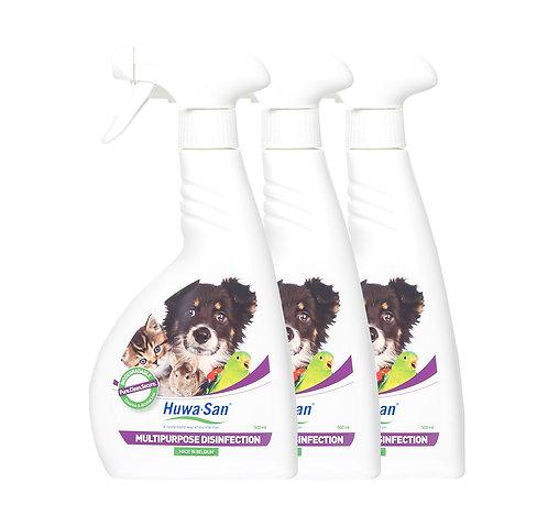 Chlorfreie Haustier Desinfektion Hygiene-und Umgebungsspray Huwa-San Pets 3er
