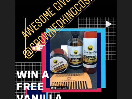 Follow our instagram to find out how to win a free vanilla beard kit! @crownedkingcosmetics