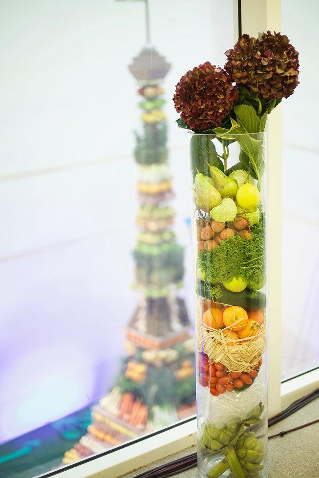 Vase de fruits et légumes
