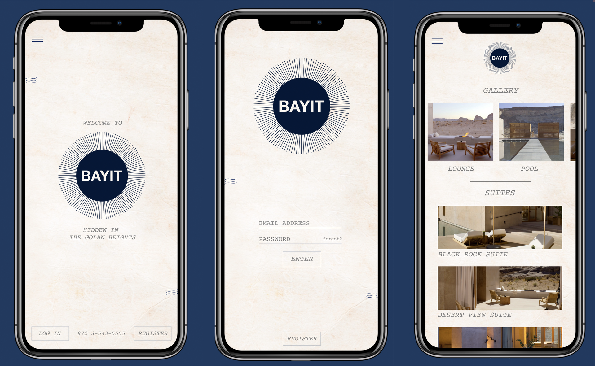 mobile application mock-up for Bayit Luxury Hotel