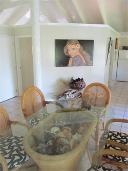 Glass dining table & wall painting