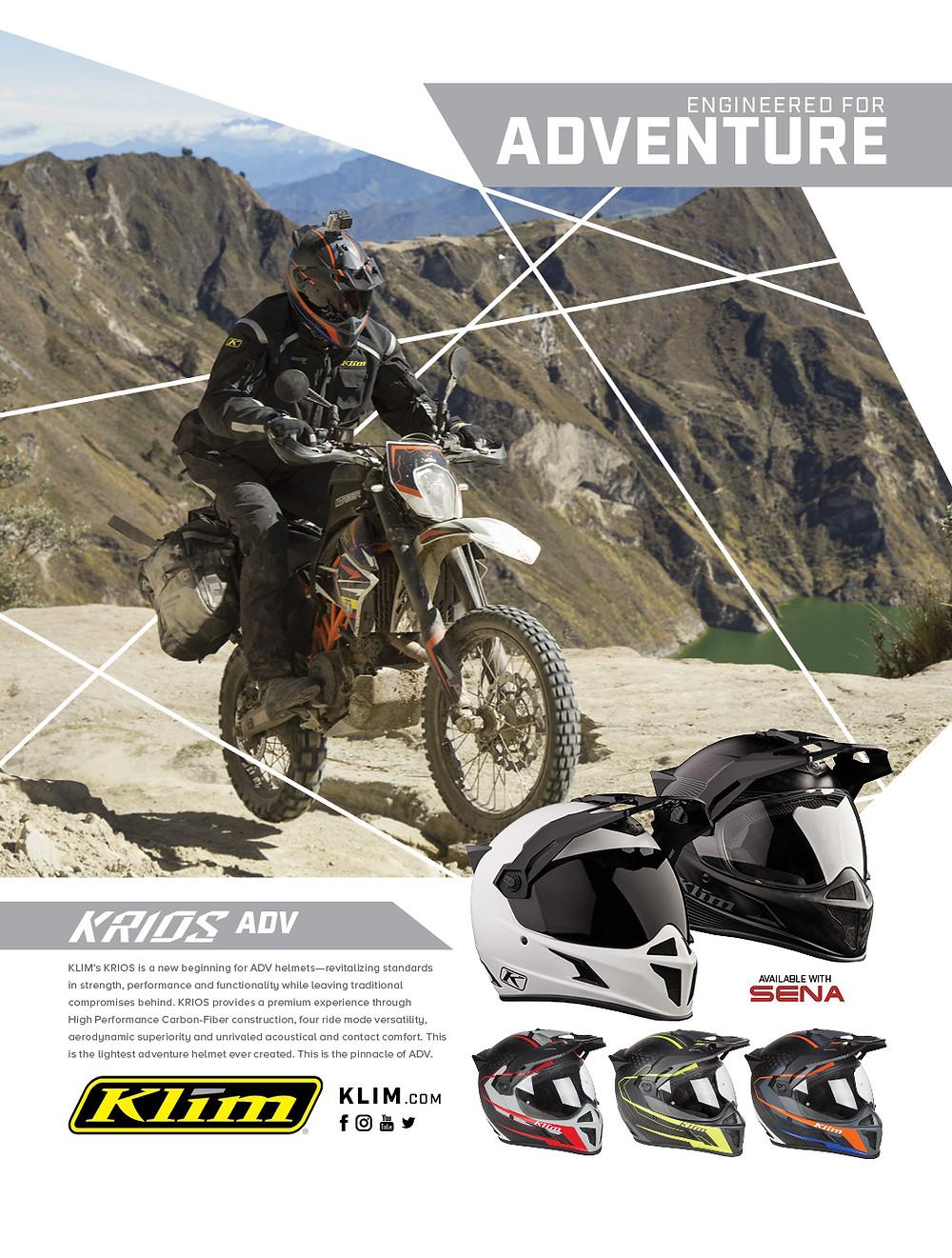 Klim, Krios, Adventure, Motorrad, Helm, Karbon, Sena, Transitions, Lens