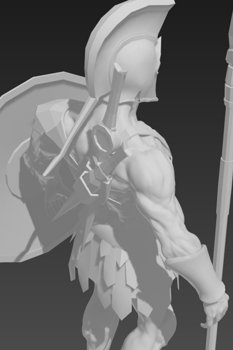 Final Sculpt Rear 3/4 View