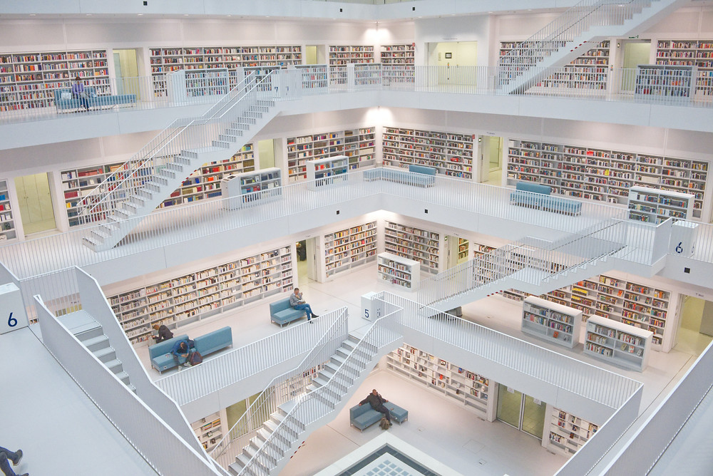 white clean library with organised data