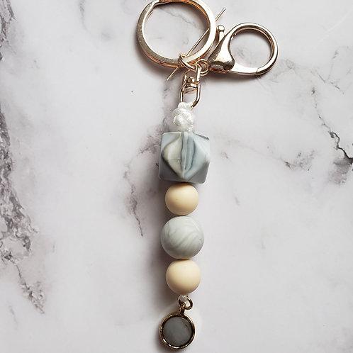 Grey Marble Keychain