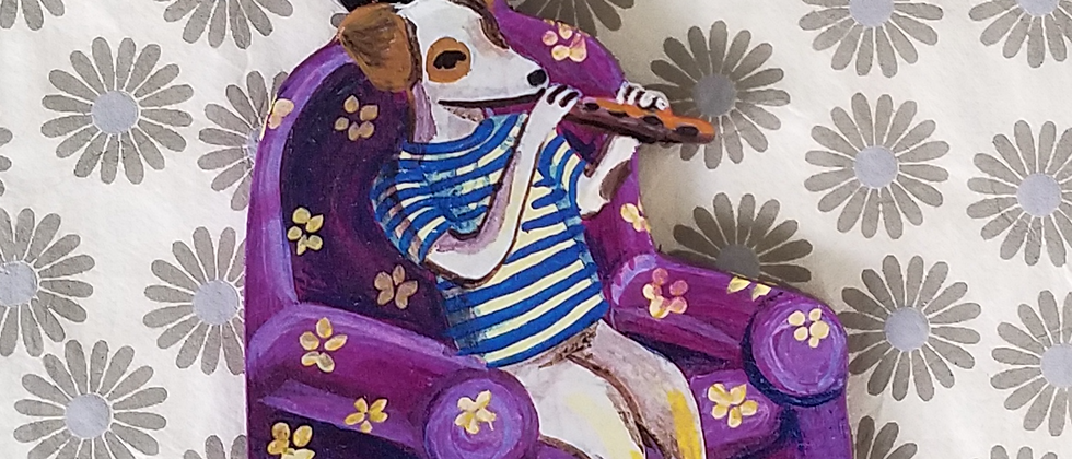 Dog Playing Flute Ornament