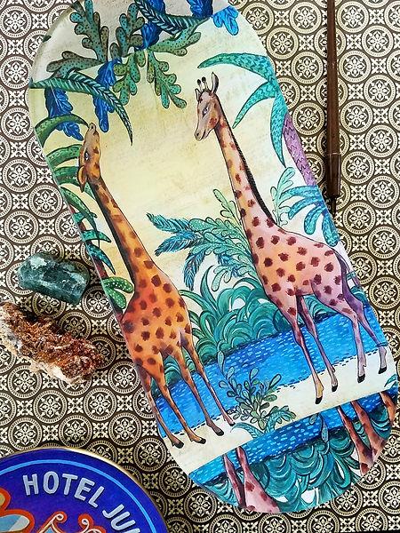 Giraffe Decoupage Plates and Table Decor