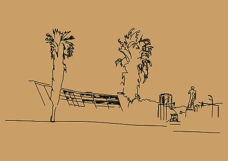 Réalisation graphique, croquis d'une vue de Marseille pour déveloper des cartes de communication