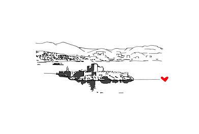 J Milena, souvenir, voyage, chateau d'if, Provence, Illustration, Marseille, Sud, France, personnalisation, textile, croquis, dessin