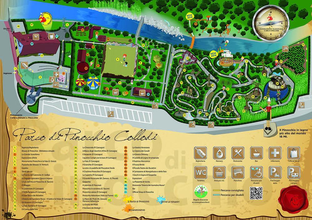Parco di Pinocchio, mappa, Collodi, w2p, welcome2pisa