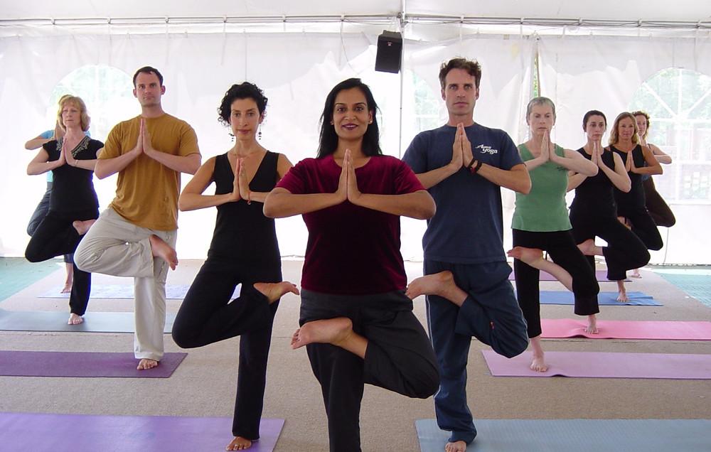 Kamini leads yoga class